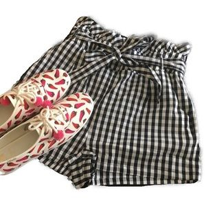 Black White Gingham Smock Waist Belted Shorts